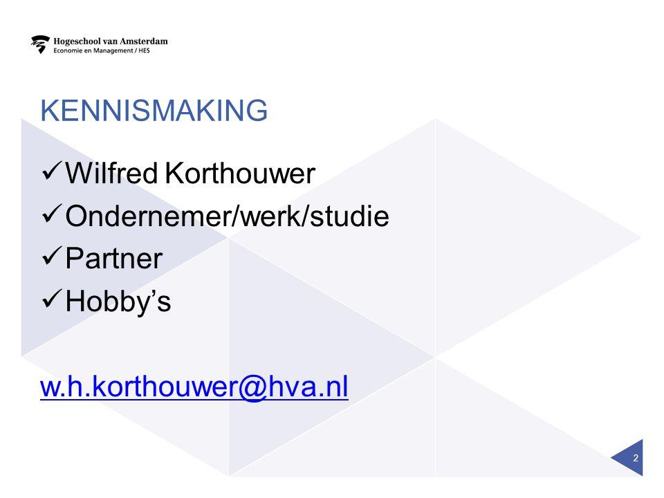 KENNISMAKING Wilfred Korthouwer Ondernemer/werk/studie Partner Hobby's w.h.korthouwer@hva.nl 2
