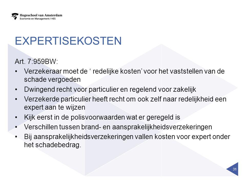 EXPERTISEKOSTEN Art. 7:959BW: Verzekeraar moet de ' redelijke kosten' voor het vaststellen van de schade vergoeden Dwingend recht voor particulier en