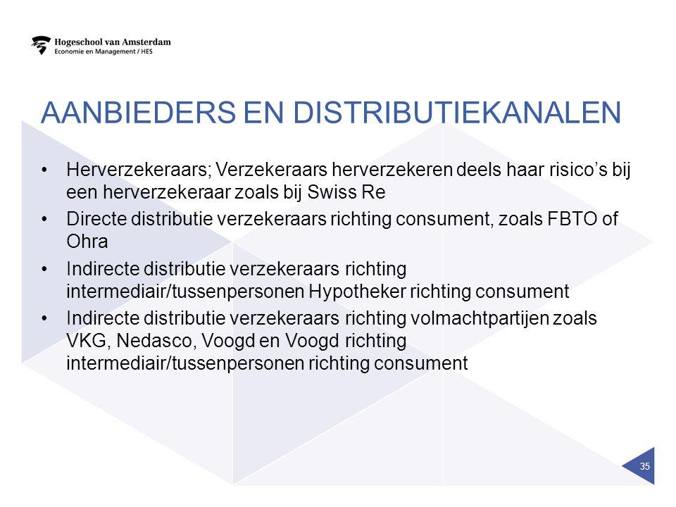 AANBIEDERS EN DISTRIBUTIEKANALEN Herverzekeraars; Verzekeraars herverzekeren deels haar risico's bij een herverzekeraar zoals bij Swiss Re Directe dis