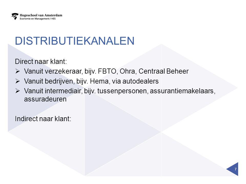 DISTRIBUTIEKANALEN Direct naar klant:  Vanuit verzekeraar, bijv. FBTO, Ohra, Centraal Beheer  Vanuit bedrijven, bijv. Hema, via autodealers  Vanuit