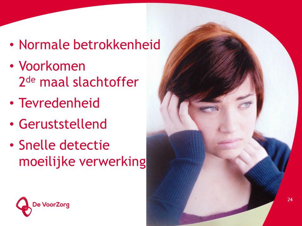 24 Normale betrokkenheid Voorkomen 2 de maal slachtoffer Tevredenheid Geruststellend Snelle detectie moeilijke verwerking