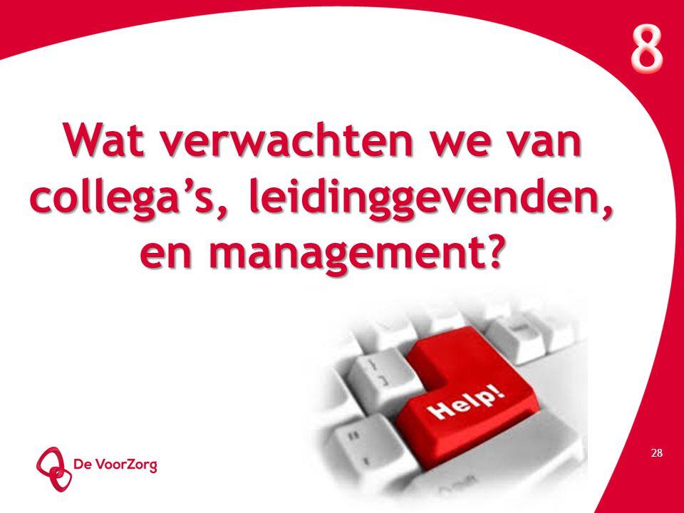 Wat verwachten we van collega's, leidinggevenden, en management? 28