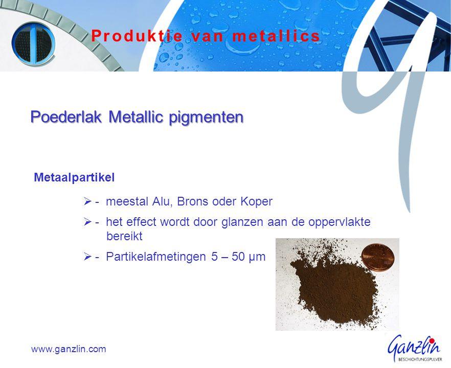 Metaalpartikel  - meestal Alu, Brons oder Koper  - het effect wordt door glanzen aan de oppervlakte bereikt  - Partikelafmetingen 5 – 50 µm www.gan