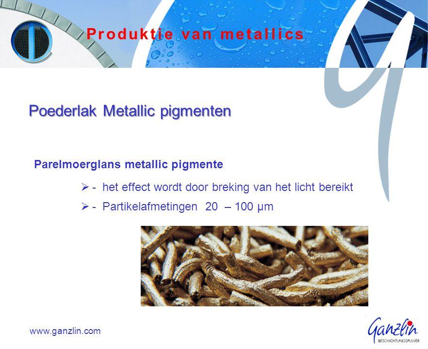 Parelmoerglans metallic pigmente  - het effect wordt door breking van het licht bereikt  - Partikelafmetingen 20 – 100 µm www.ganzlin.com Produktie van metallics Poederlak Metallic pigmenten