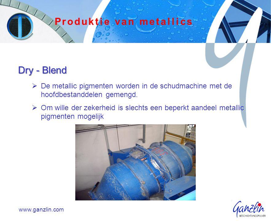 Eigen-aardigheden  Proces in huis  Voordeliger  kleinere hoeveelheden ( 15 kg )  Korte tijden in de ontwikkeling  Niet toepasbaar voor alle metallics  liefdevolle applicatie is nodig www.ganzlin.com Produktie van metallics