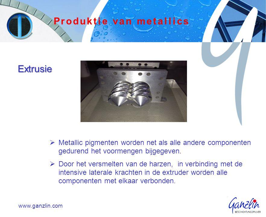 Extrusie  Metallic pigmenten worden net als alle andere componenten gedurend het voormengen bijgegeven.