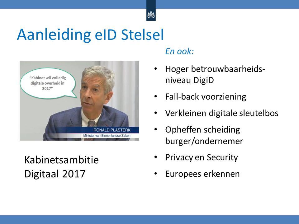 Aanleiding eID Stelsel En ook: Hoger betrouwbaarheids- niveau DigiD Fall-back voorziening Verkleinen digitale sleutelbos Opheffen scheiding burger/ondernemer Privacy en Security Europees erkennen Kabinetsambitie Digitaal 2017