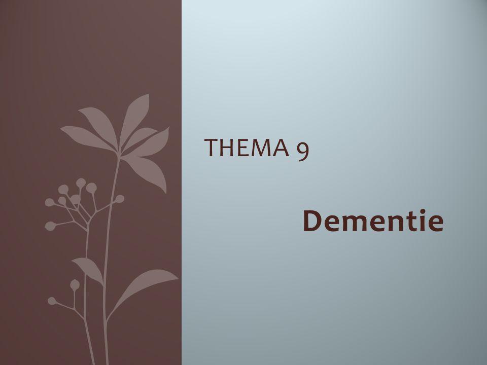 Dementie… even wat cijfertjes Ongeveer 250.000 Nederlanders Hiervan zijn 12.000 jong-dementerend (jonger dan 65 jaar) 1 op de 5 mensen krijgt dementie In 2030 wordt verwacht dat er meer dan 300.000 Nederlanders lijden dan aan dementie.