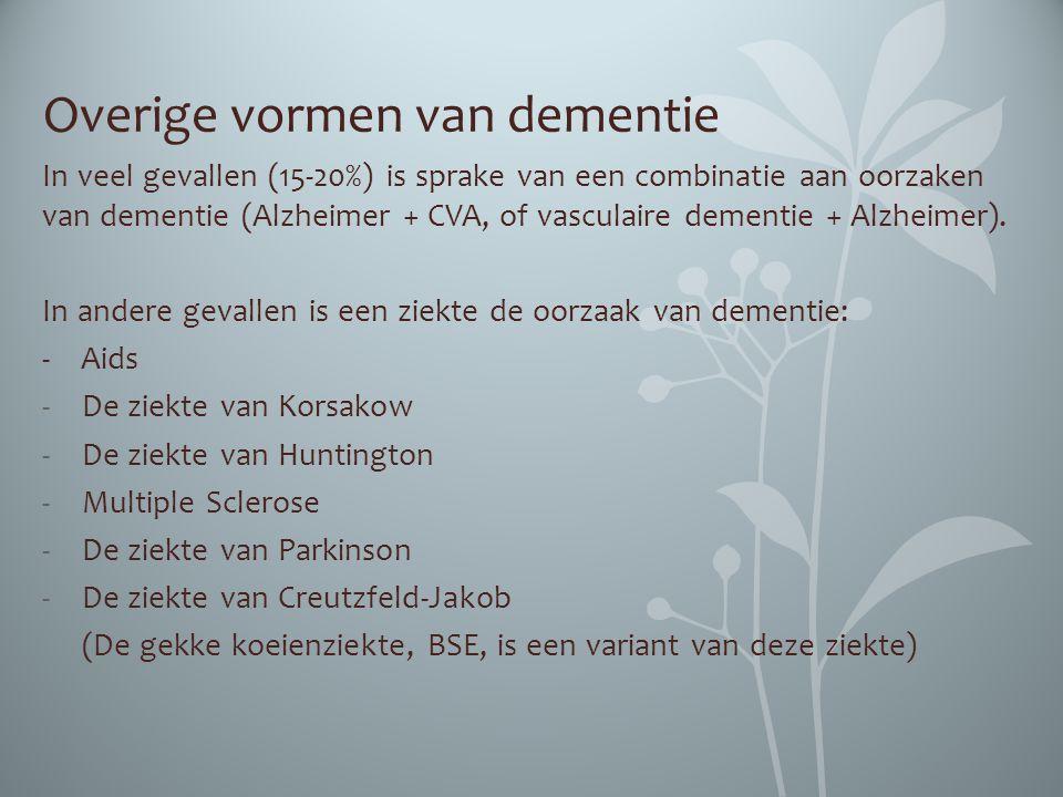 Overige vormen van dementie In veel gevallen (15-20%) is sprake van een combinatie aan oorzaken van dementie (Alzheimer + CVA, of vasculaire dementie