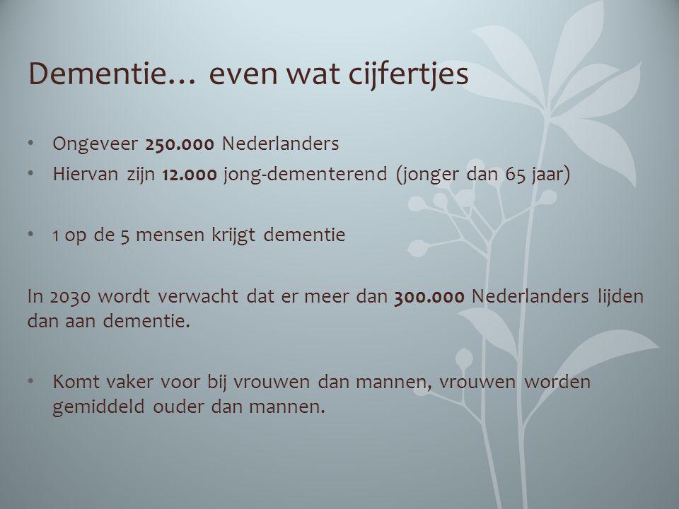 Dementie… even wat cijfertjes Ongeveer 250.000 Nederlanders Hiervan zijn 12.000 jong-dementerend (jonger dan 65 jaar) 1 op de 5 mensen krijgt dementie