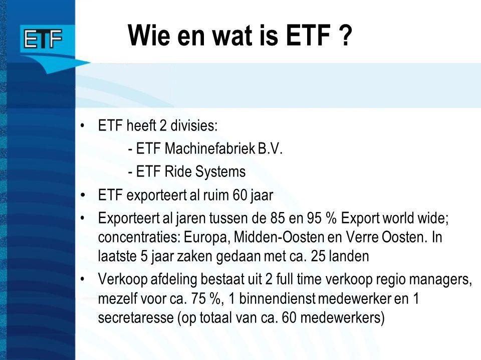 Wie en wat is ETF ? ETF heeft 2 divisies: - ETF Machinefabriek B.V. - ETF Ride Systems ETF exporteert al ruim 60 jaar Exporteert al jaren tussen de 85