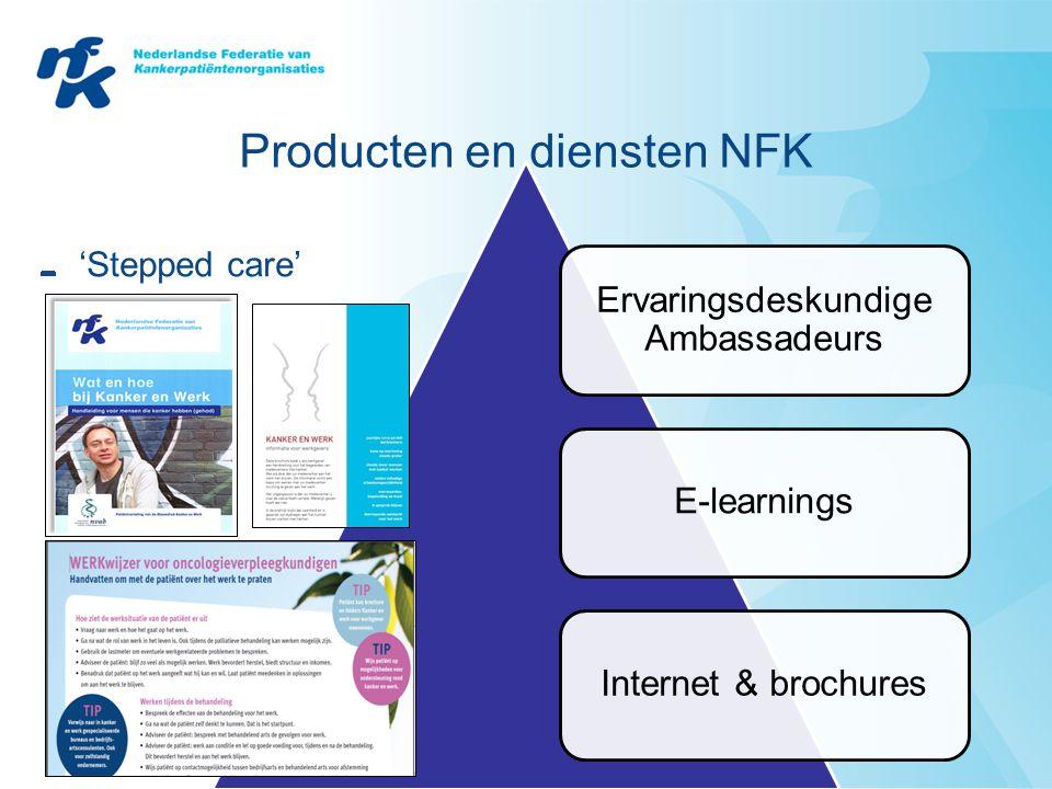 Producten en diensten NFK 'Stepped care' Ervaringsdeskundige Ambassadeurs E-learningsInternet & brochures