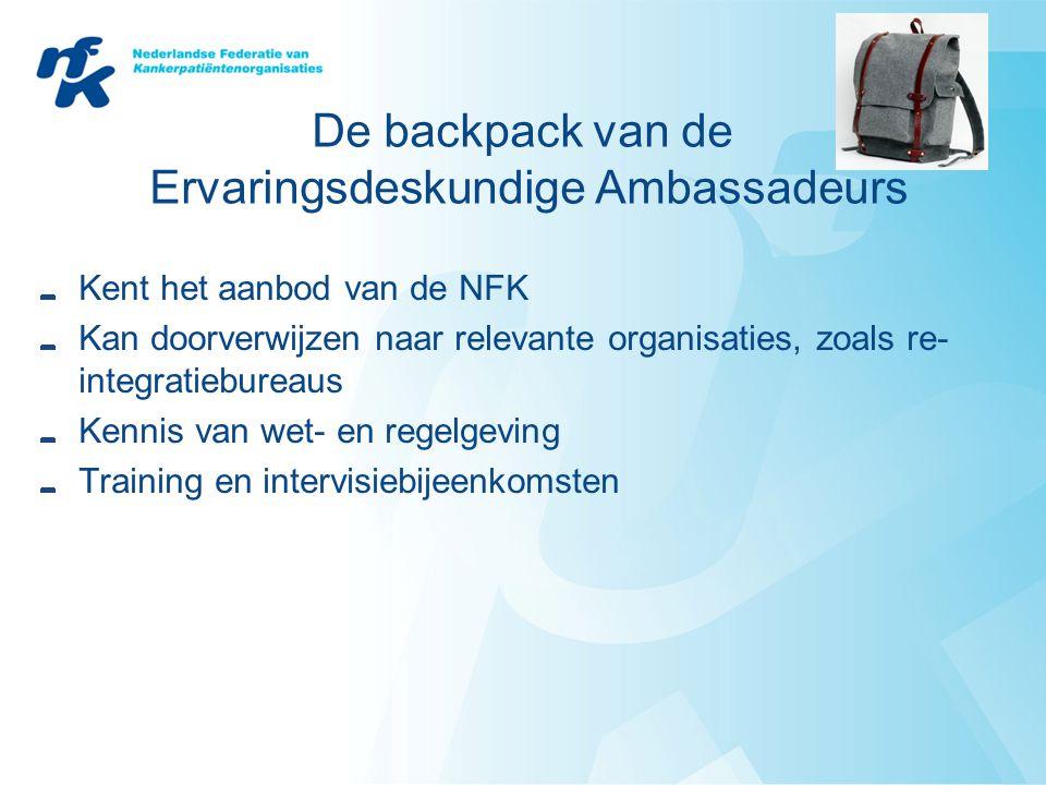 De backpack van de Ervaringsdeskundige Ambassadeurs Kent het aanbod van de NFK Kan doorverwijzen naar relevante organisaties, zoals re- integratiebureaus Kennis van wet- en regelgeving Training en intervisiebijeenkomsten