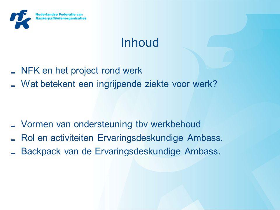 Inhoud NFK en het project rond werk Wat betekent een ingrijpende ziekte voor werk.
