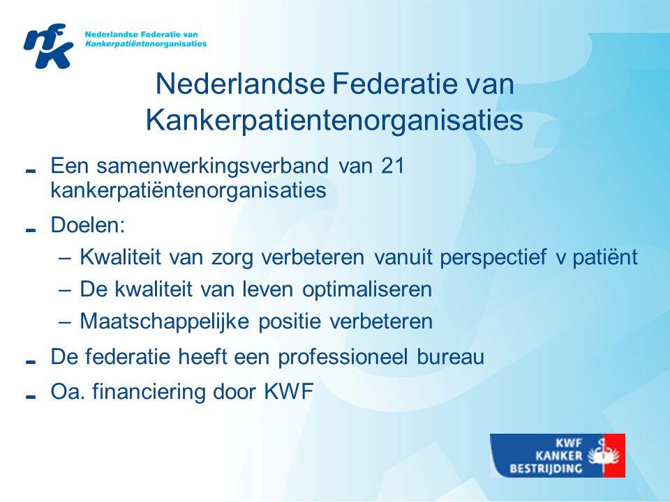 Nederlandse Federatie van Kankerpatientenorganisaties Een samenwerkingsverband van 21 kankerpatiëntenorganisaties Doelen: –Kwaliteit van zorg verbeteren vanuit perspectief v patiënt –De kwaliteit van leven optimaliseren –Maatschappelijke positie verbeteren De federatie heeft een professioneel bureau Oa.