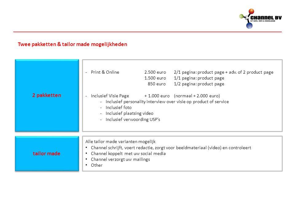 Twee pakketten & tailor made mogelijkheden 2 pakketten -Print & Online 2.500 euro2/1 pagina: product page + adv. of 2 product page 1.500 euro1/1 pagin