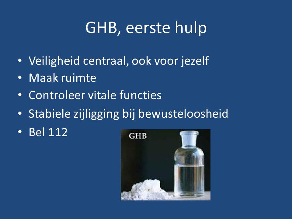 GHB, eerste hulp Veiligheid centraal, ook voor jezelf Maak ruimte Controleer vitale functies Stabiele zijligging bij bewusteloosheid Bel 112
