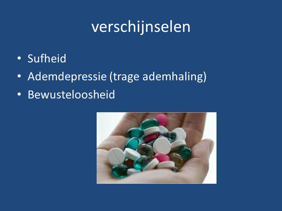 verschijnselen Sufheid Ademdepressie (trage ademhaling) Bewusteloosheid