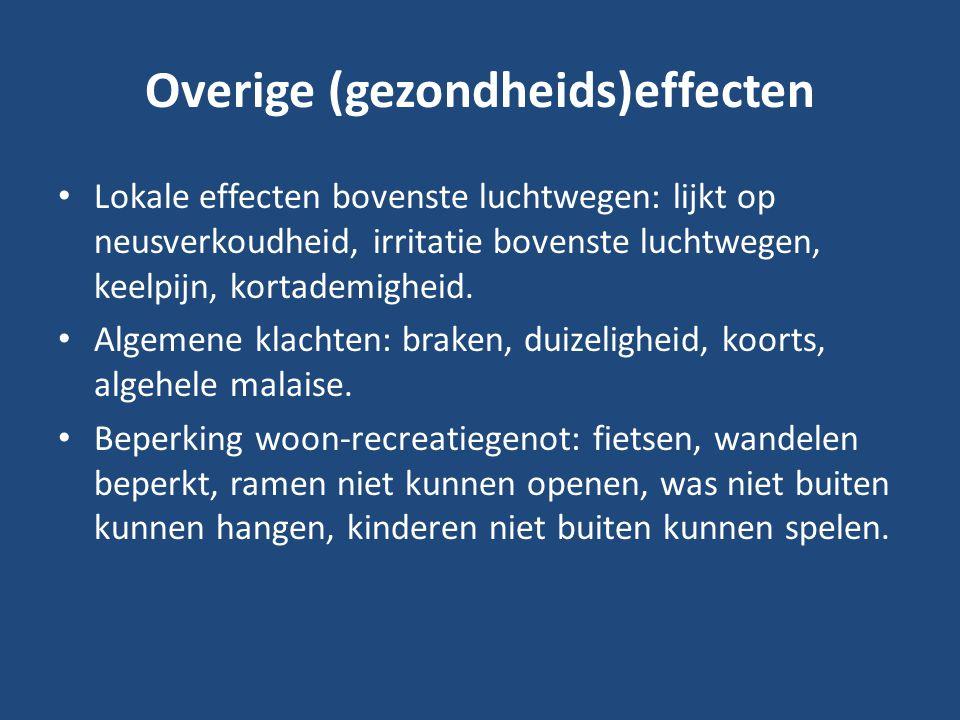 Overige (gezondheids)effecten Lokale effecten bovenste luchtwegen: lijkt op neusverkoudheid, irritatie bovenste luchtwegen, keelpijn, kortademigheid.