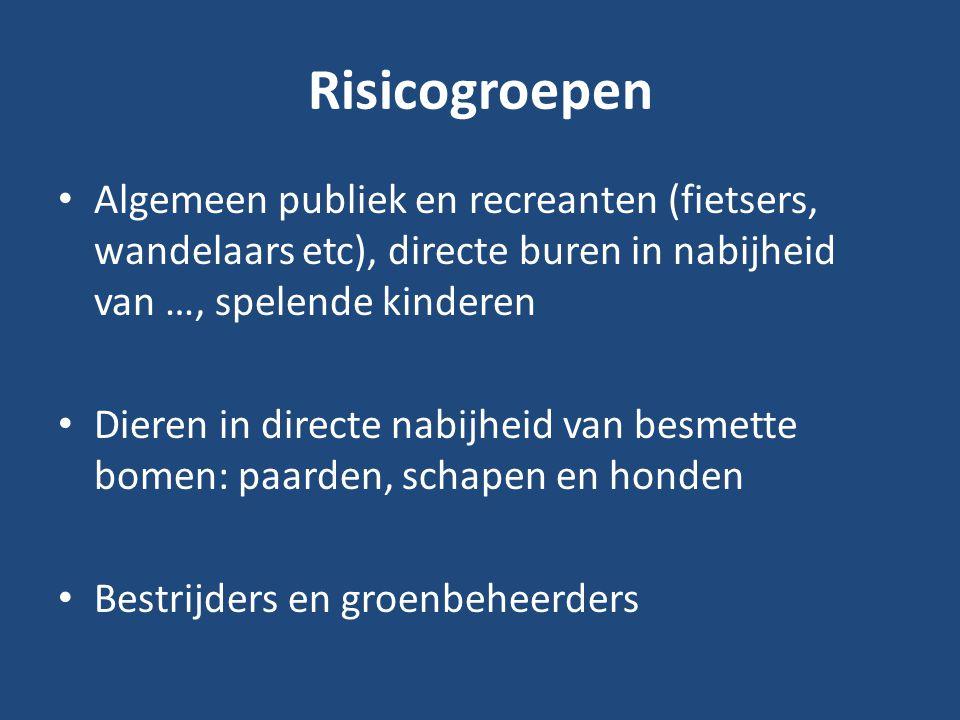 Risicogroepen Algemeen publiek en recreanten (fietsers, wandelaars etc), directe buren in nabijheid van …, spelende kinderen Dieren in directe nabijhe