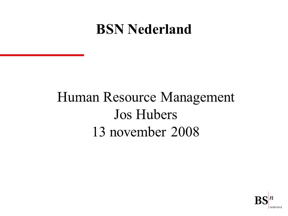Human Resource Management Jos Hubers 13 november 2008 BSN Nederland