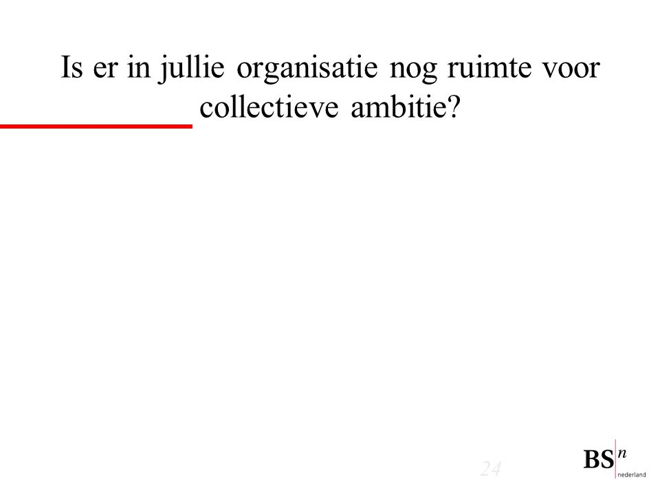 24 Is er in jullie organisatie nog ruimte voor collectieve ambitie?