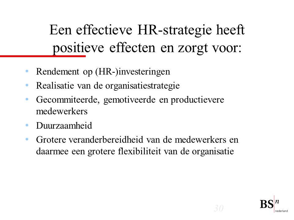 30 Een effectieve HR-strategie heeft positieve effecten en zorgt voor: Rendement op (HR-)investeringen Realisatie van de organisatiestrategie Gecommiteerde, gemotiveerde en productievere medewerkers Duurzaamheid Grotere veranderbereidheid van de medewerkers en daarmee een grotere flexibiliteit van de organisatie