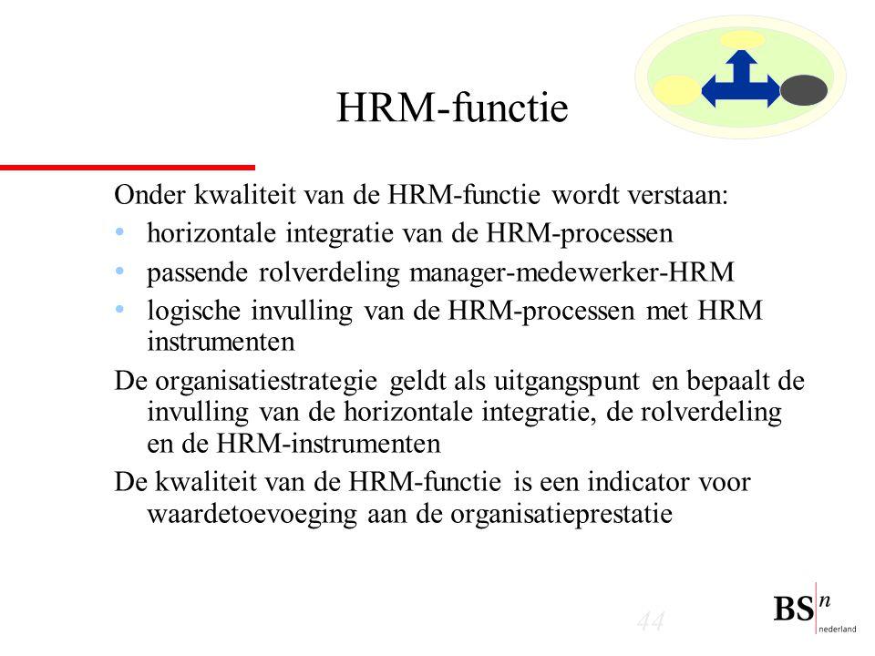 44 HRM-functie Onder kwaliteit van de HRM-functie wordt verstaan: horizontale integratie van de HRM-processen passende rolverdeling manager-medewerker-HRM logische invulling van de HRM-processen met HRM instrumenten De organisatiestrategie geldt als uitgangspunt en bepaalt de invulling van de horizontale integratie, de rolverdeling en de HRM-instrumenten De kwaliteit van de HRM-functie is een indicator voor waardetoevoeging aan de organisatieprestatie