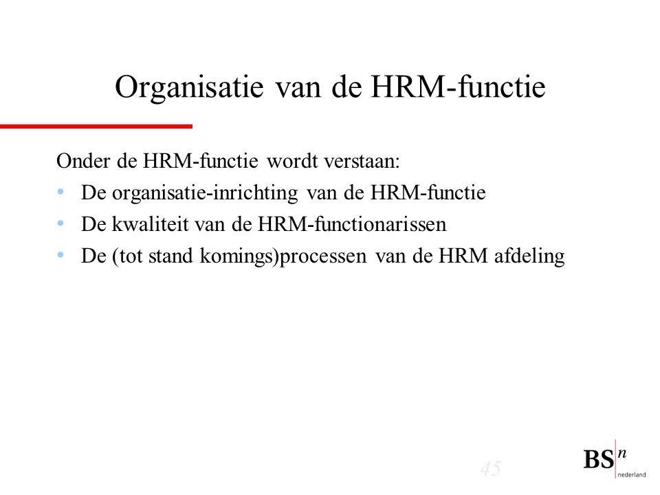 45 Organisatie van de HRM-functie Onder de HRM-functie wordt verstaan: De organisatie-inrichting van de HRM-functie De kwaliteit van de HRM-functionarissen De (tot stand komings)processen van de HRM afdeling