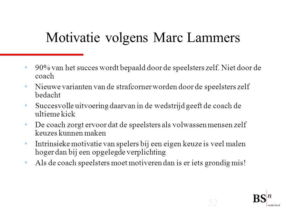 52 Motivatie volgens Marc Lammers 90% van het succes wordt bepaald door de speelsters zelf.