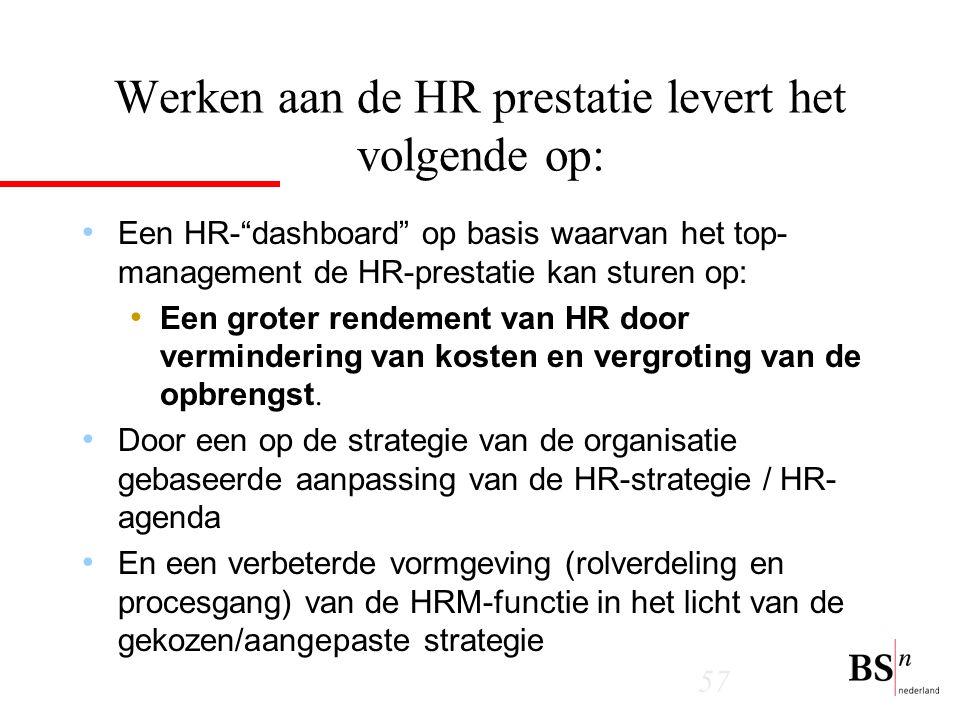 57 Werken aan de HR prestatie levert het volgende op: Een HR- dashboard op basis waarvan het top- management de HR-prestatie kan sturen op: Een groter rendement van HR door vermindering van kosten en vergroting van de opbrengst.