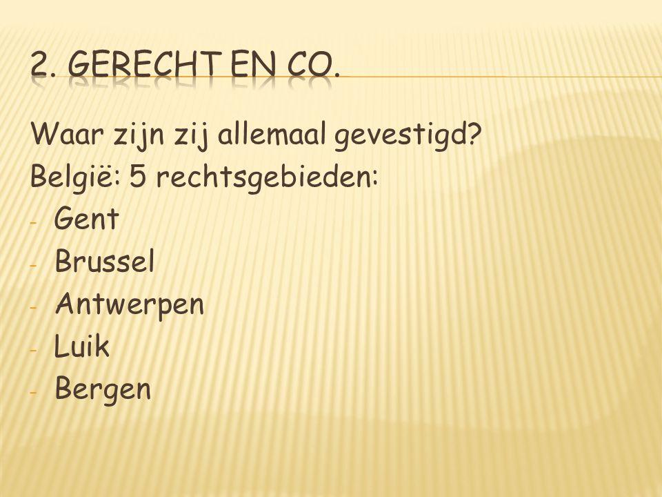 Waar zijn zij allemaal gevestigd? België: 5 rechtsgebieden: - Gent - Brussel - Antwerpen - Luik - Bergen