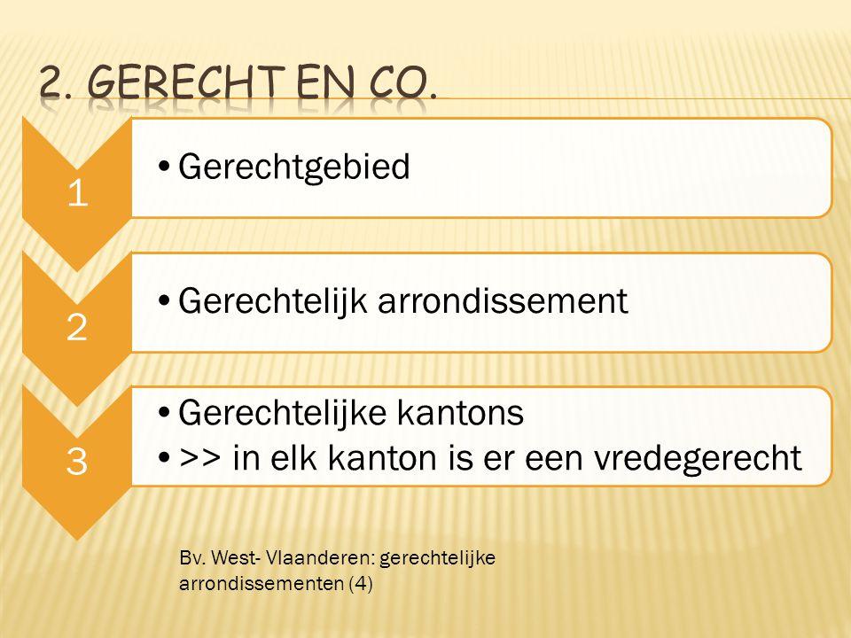 1 Gerechtgebied 2 Gerechtelijk arrondissement 3 Gerechtelijke kantons >> in elk kanton is er een vredegerecht Bv. West- Vlaanderen: gerechtelijke arro