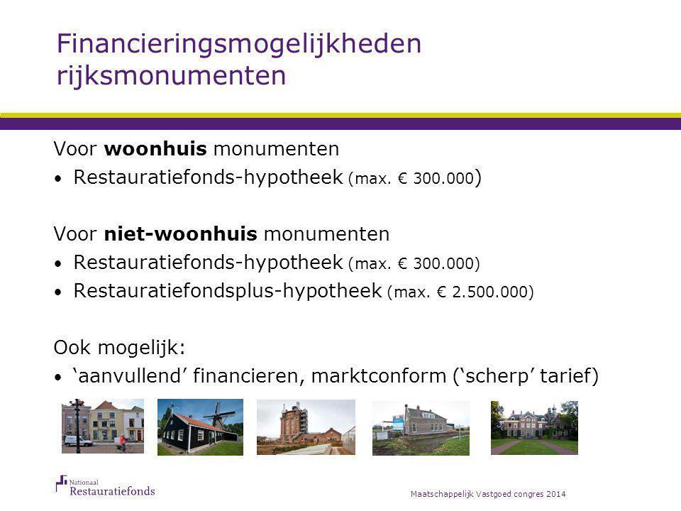 Financieringsmogelijkheden rijksmonumenten Maatschappelijk Vastgoed congres 2014 Voor woonhuis monumenten Restauratiefonds-hypotheek (max. € 300.000 )