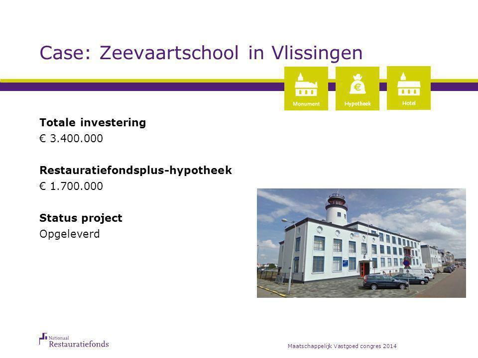 Case: Zeevaartschool in Vlissingen Totale investering € 3.400.000 Restauratiefondsplus-hypotheek € 1.700.000 Status project Opgeleverd Maatschappelijk