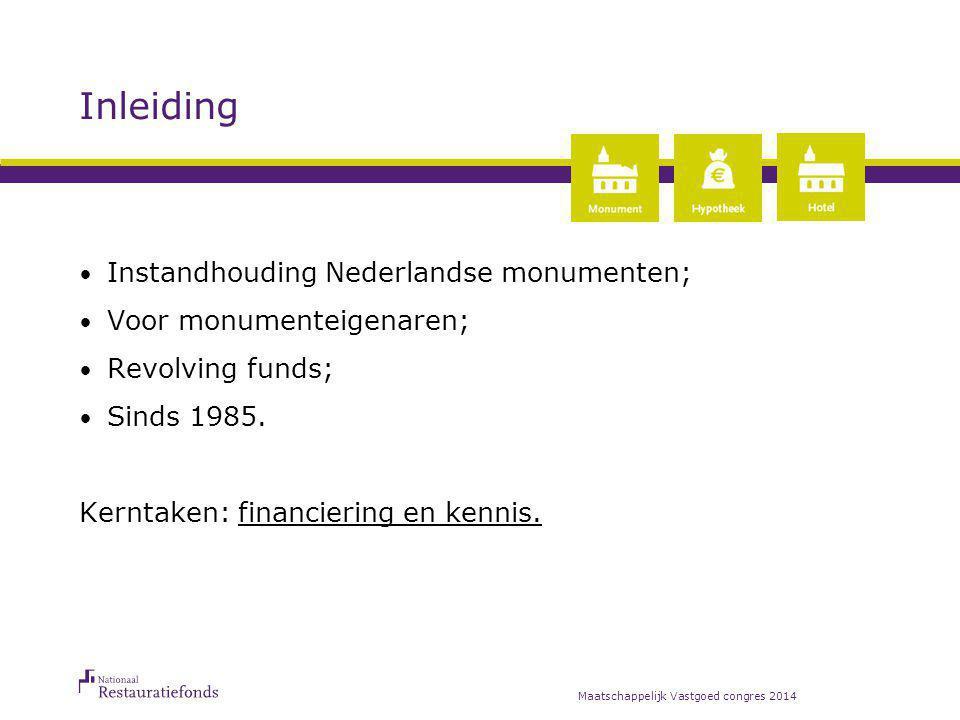 Inleiding Instandhouding Nederlandse monumenten; Voor monumenteigenaren; Revolving funds; Sinds 1985. Kerntaken: financiering en kennis. Maatschappeli