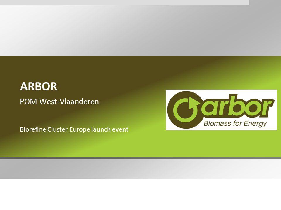 Verdere implementatie korteomloophout West-Vlaanderen  ARBOR op vandaag in West-Vlaanderen  5 ha onbenutte industriegrond  6 ha landbouwgrond  oproep tot kandidaatstelling voor aanplant nog open