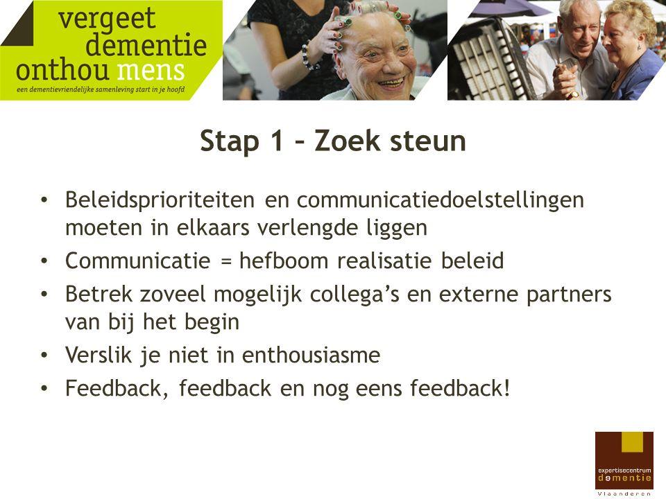 Stap 1 – Zoek steun Beleidsprioriteiten en communicatiedoelstellingen moeten in elkaars verlengde liggen Communicatie = hefboom realisatie beleid Betr