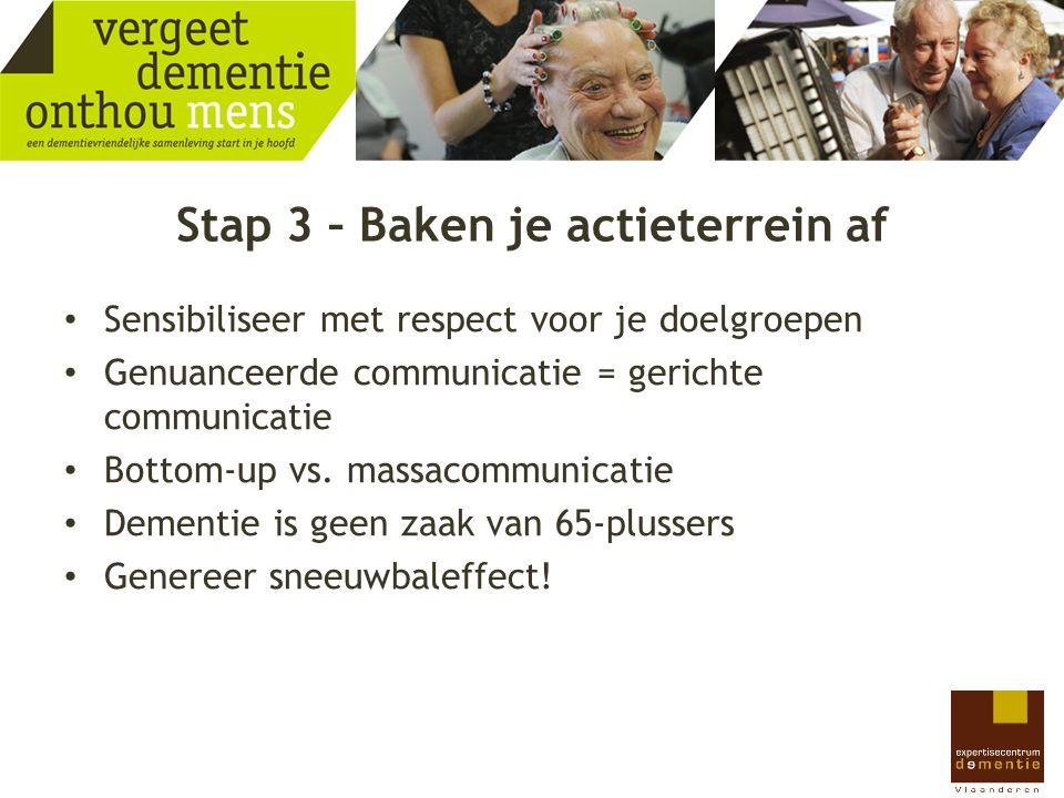 Stap 3 – Baken je actieterrein af Sensibiliseer met respect voor je doelgroepen Genuanceerde communicatie = gerichte communicatie Bottom-up vs. massac