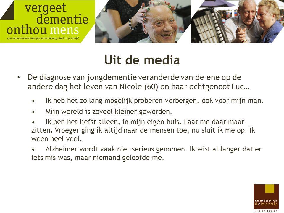 Uit de media 'Dementerenden krijgen polsband om voor eigen veiligheid.' 'De dementen in het OCMW-rusthuis in Arendonk beschikken voortaan over een eigen terras.' 'Waarom zou je het leven van patiënten vergallen met het schrikbeeld van een vreselijke aandoening die toch niet te genezen valt.