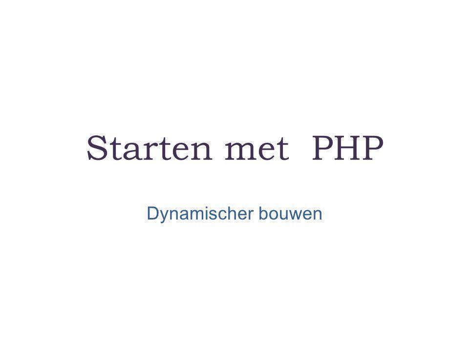 PHP – Hypertext Preprocessor is een een scripttaal waarmee de server pagina's in elkaar kunt laten zetten.