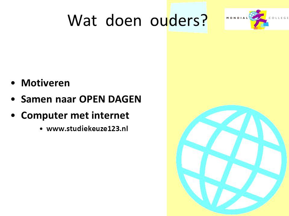 Wat doen ouders? Motiveren Samen naar OPEN DAGEN Computer met internet www.studiekeuze123.nl