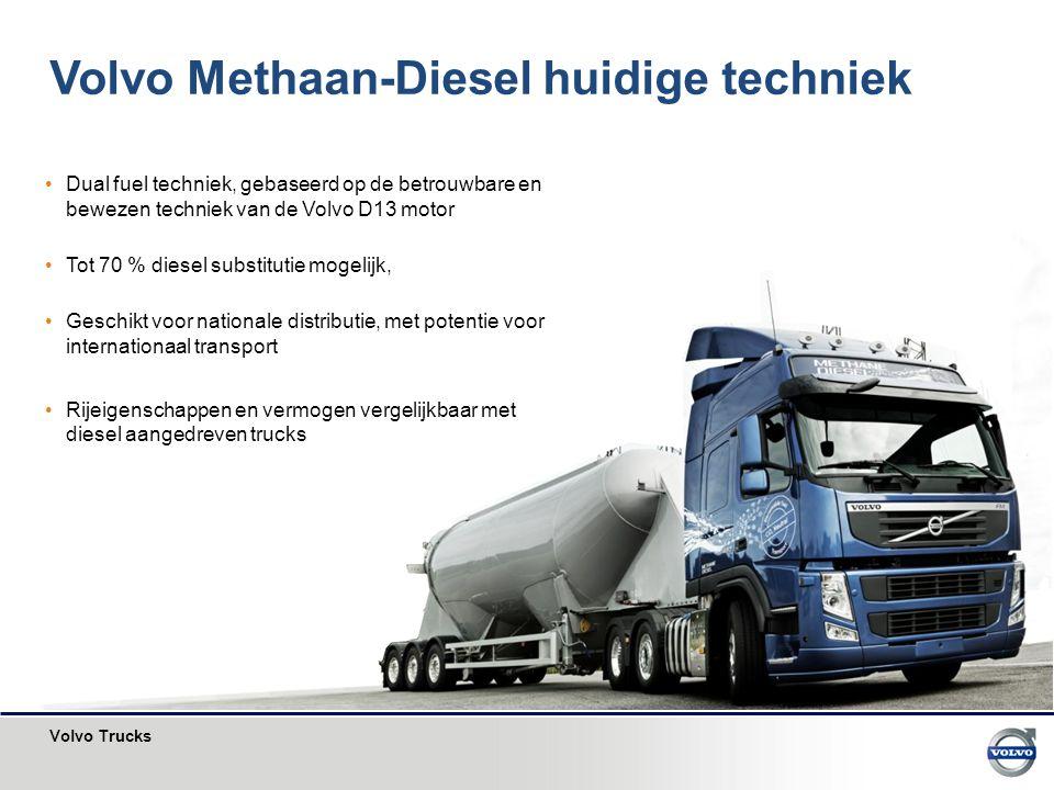 Volvo Trucks Dual fuel techniek, gebaseerd op de betrouwbare en bewezen techniek van de Volvo D13 motor Tot 70 % diesel substitutie mogelijk, Geschikt