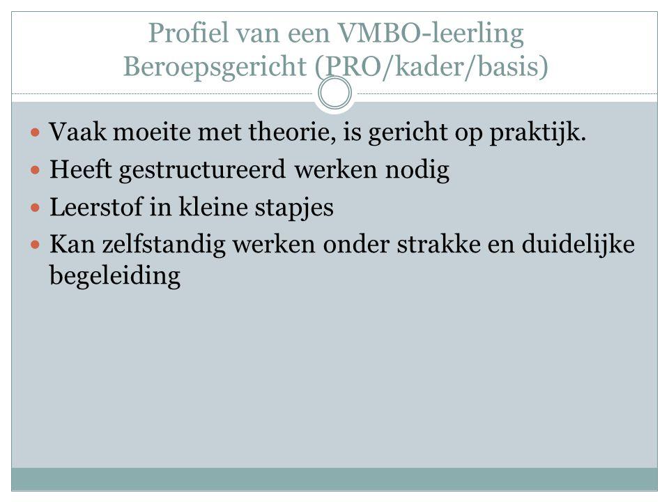 Profiel van een VMBO-leerling Beroepsgericht (PRO/kader/basis) Vaak moeite met theorie, is gericht op praktijk. Heeft gestructureerd werken nodig Leer