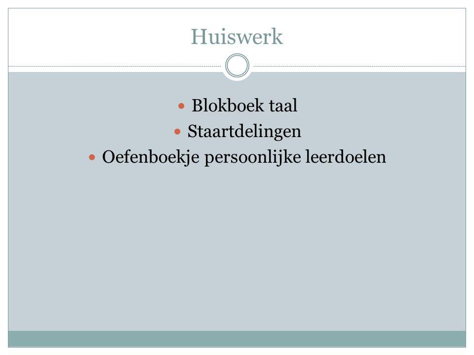 Huiswerk Blokboek taal Staartdelingen Oefenboekje persoonlijke leerdoelen