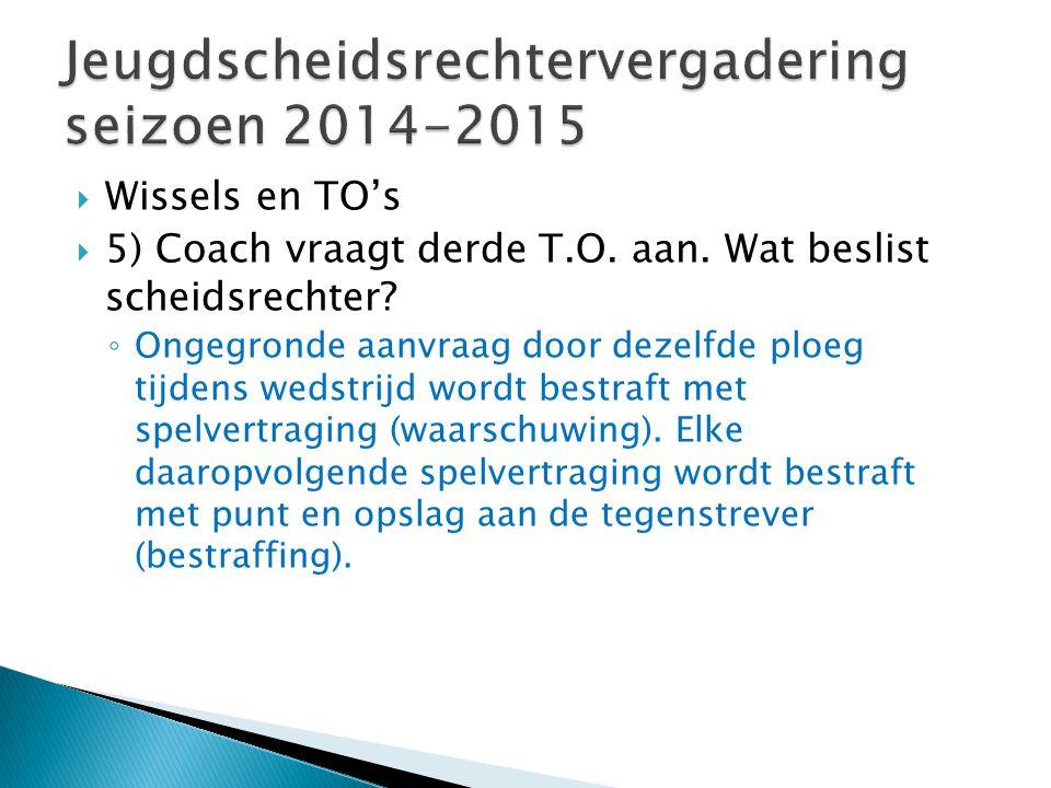  Wissels en TO's  5) Coach vraagt derde T.O. aan.