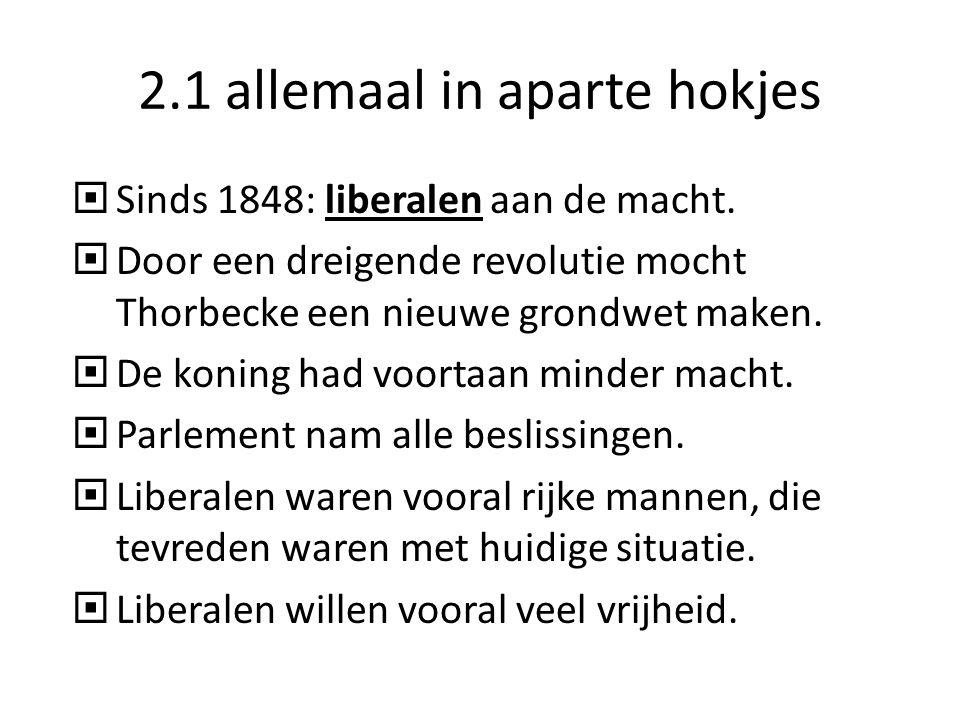 2.1 allemaal in aparte hokjes  Sinds 1848: liberalen aan de macht.  Door een dreigende revolutie mocht Thorbecke een nieuwe grondwet maken.  De kon