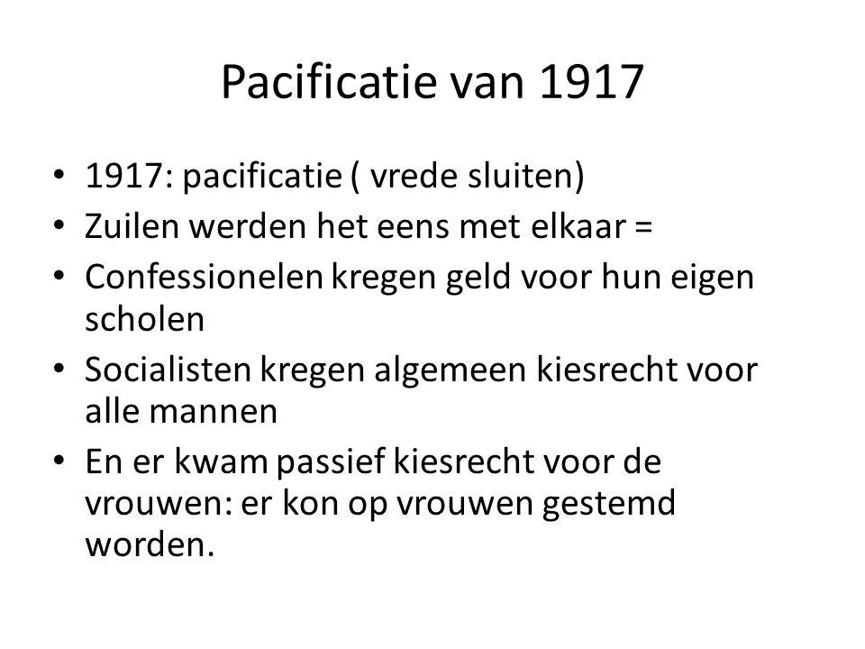 Pacificatie van 1917 1917: pacificatie ( vrede sluiten) Zuilen werden het eens met elkaar = Confessionelen kregen geld voor hun eigen scholen Socialis