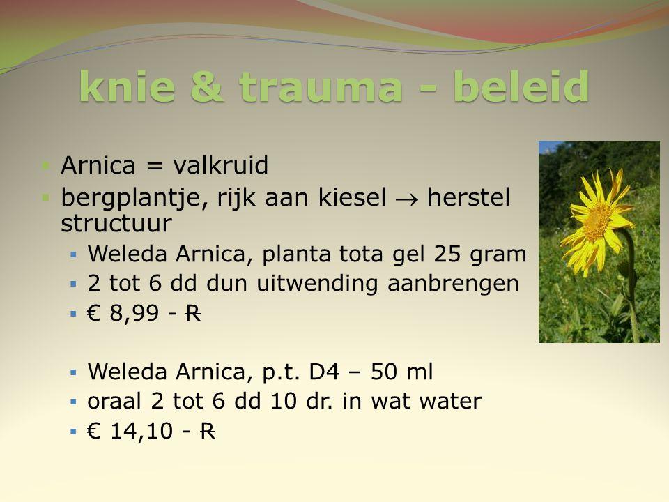 knie & trauma - beleid  Arnica = valkruid  bergplantje, rijk aan kiesel  herstel structuur  Weleda Arnica, planta tota gel 25 gram  2 tot 6 dd du