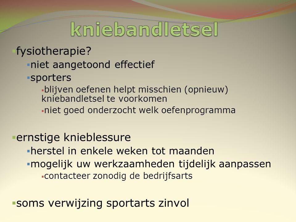 fysiotherapie?  niet aangetoond effectief  sporters  blijven oefenen helpt misschien (opnieuw) kniebandletsel te voorkomen  niet goed onderzocht